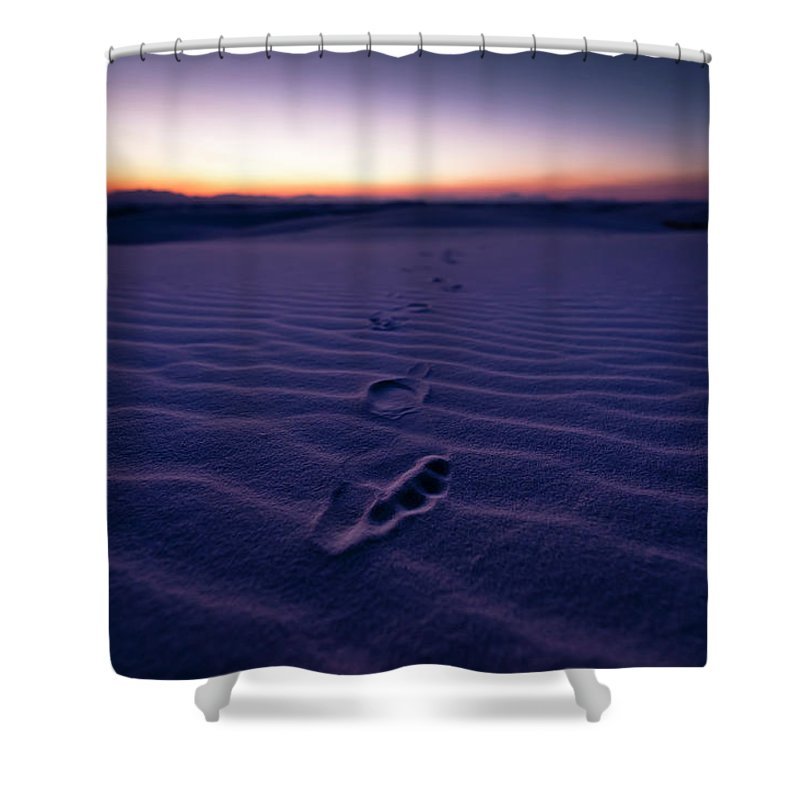 New Mexico Shower Curtain featuring the photograph Footprint On Dunes by Son Gallery - Wilson Lee