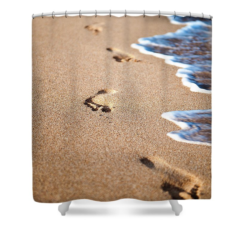 Vacations Shower Curtain featuring the photograph Footprints In The Sand by Rontech2000