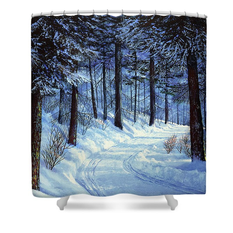 Landscape Shower Curtain featuring the painting Forest Road by Frank Wilson
