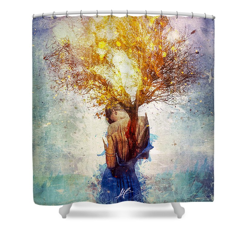 Surreal Shower Curtain featuring the digital art Forgiveness by Mario Sanchez Nevado