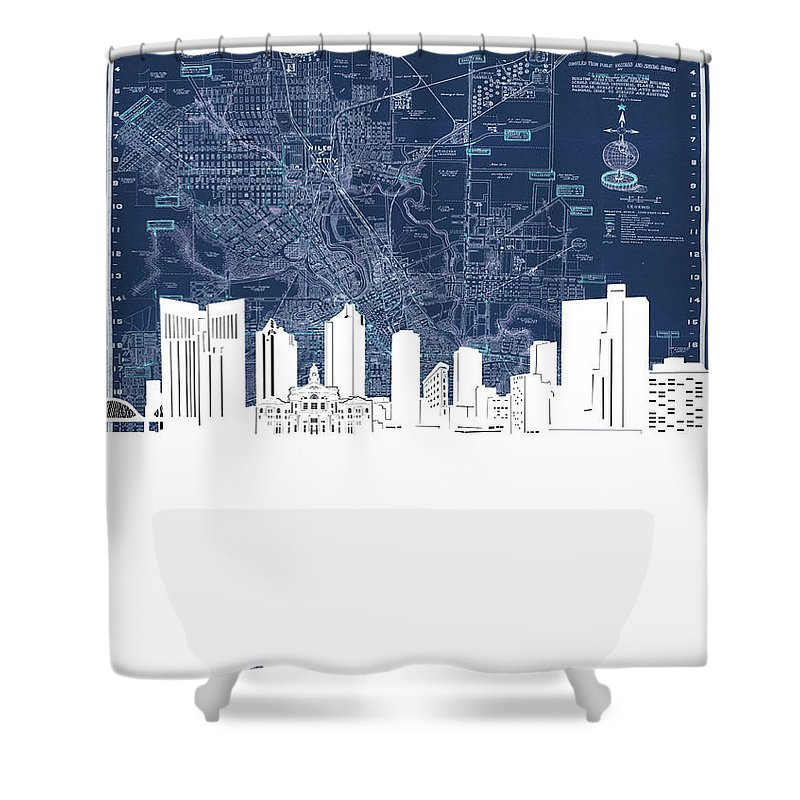 Fort Worth Shower Curtain featuring the digital art Fort Worth Skyline Map Blue by Bekim M