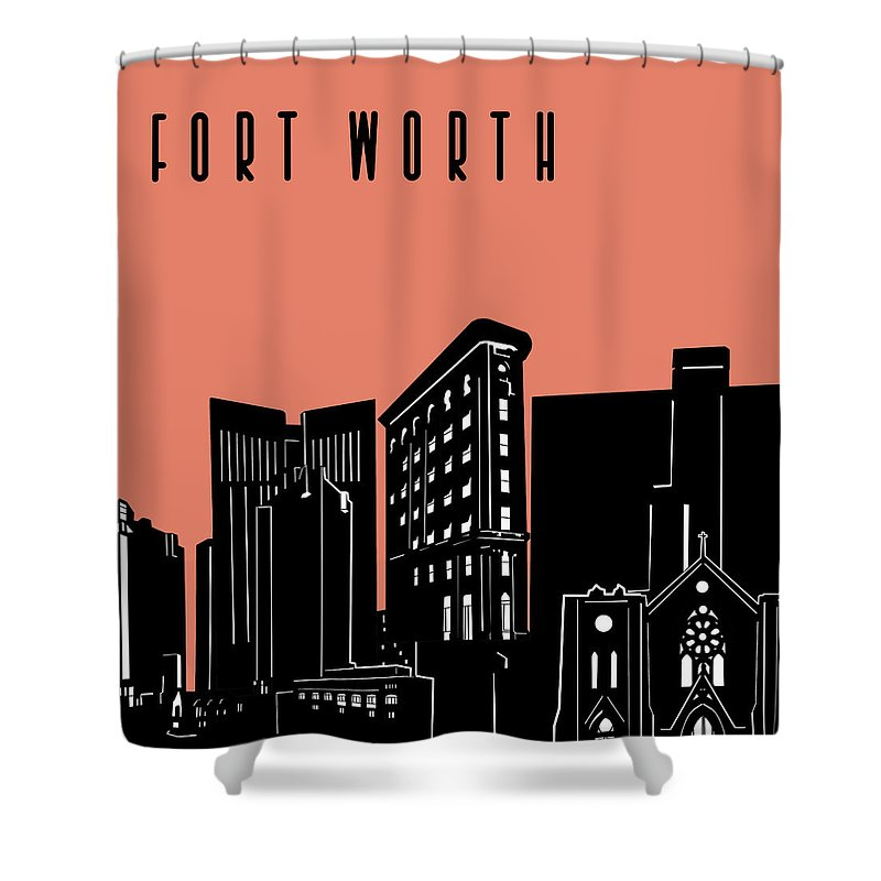 Fort Worth Shower Curtain featuring the digital art Fort Worth Skyline Panorama Red by Bekim Art