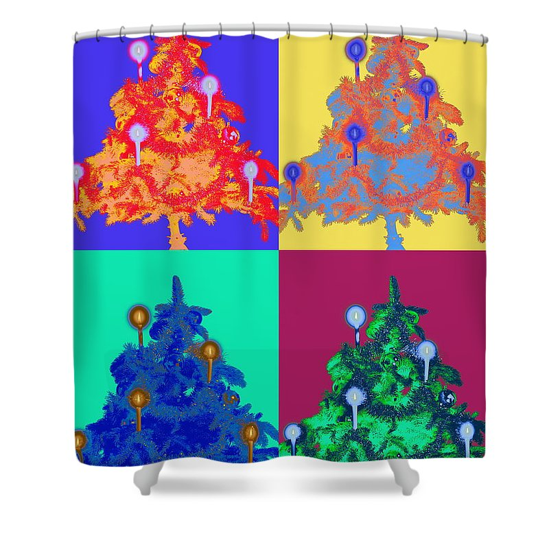 Celebration Shower Curtain featuring the photograph Four Christmas Trees Decorated With by Peter Weber