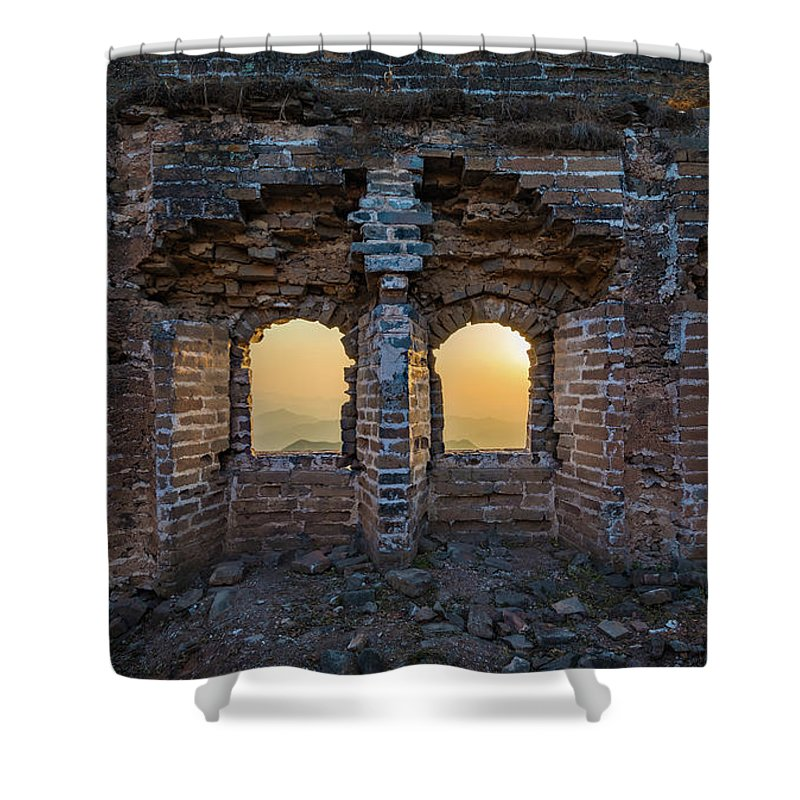 Asia Shower Curtain featuring the photograph Four Windows by Inge Johnsson