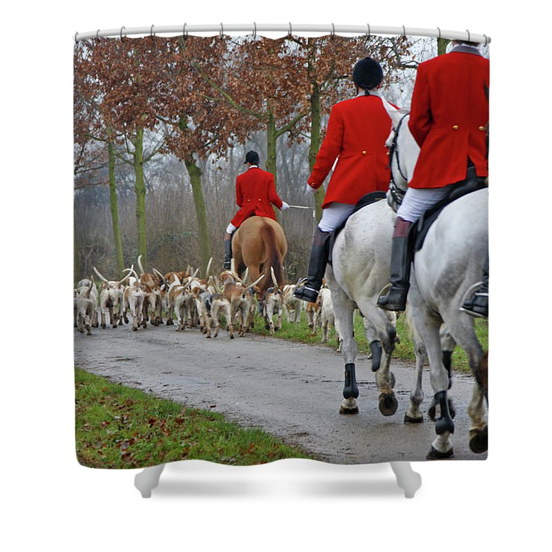 Horse Shower Curtain featuring the photograph Fox Hunt 1 by Lya cattel