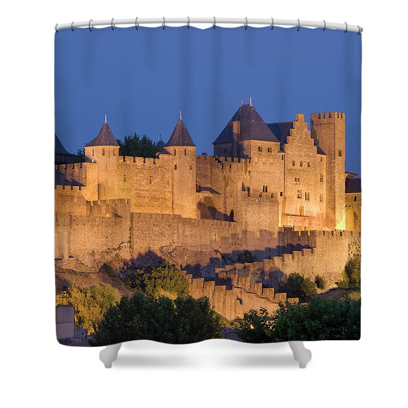 Majestic Shower Curtain featuring the photograph France, Languedoc, Carcassonne, Castle by Martin Child
