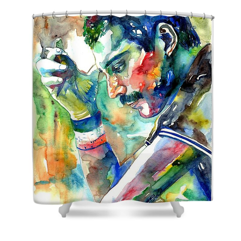 Freddie Mercury Shower Curtain featuring the painting Freddie Mercury With Cigarette by Suzann Sines
