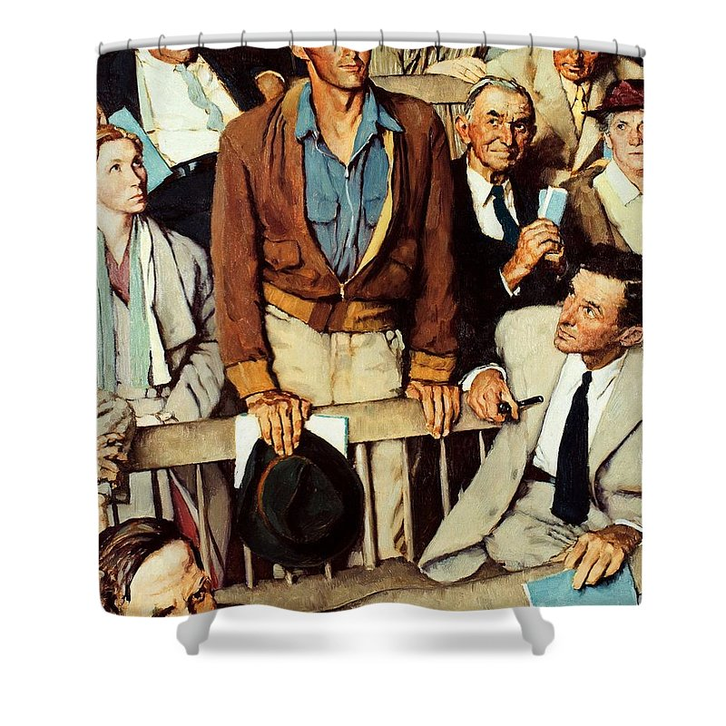 Man Standing Shower Curtain featuring the drawing Freedom Of Speech by Norman Rockwell