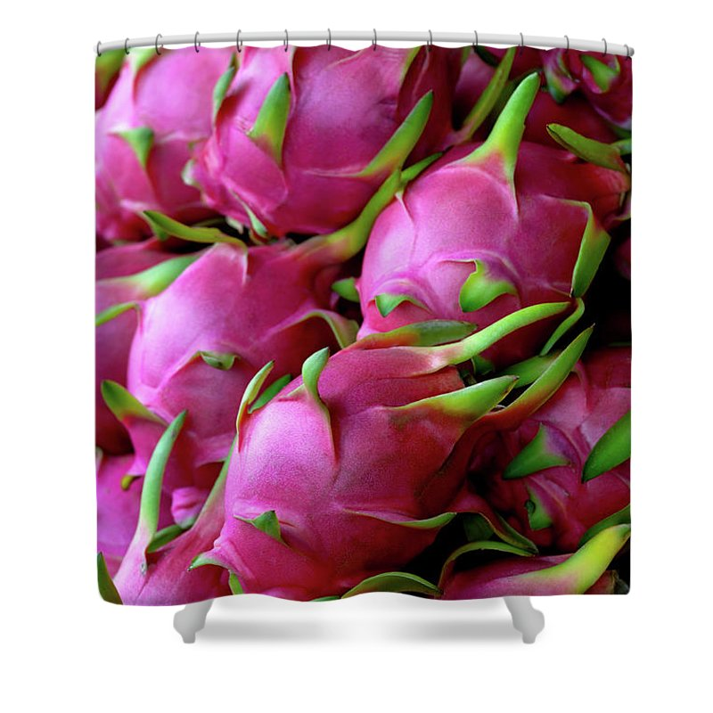 Thailand Shower Curtain featuring the photograph Fresh Dragon Fruit For Sale In A Thai by Enviromantic