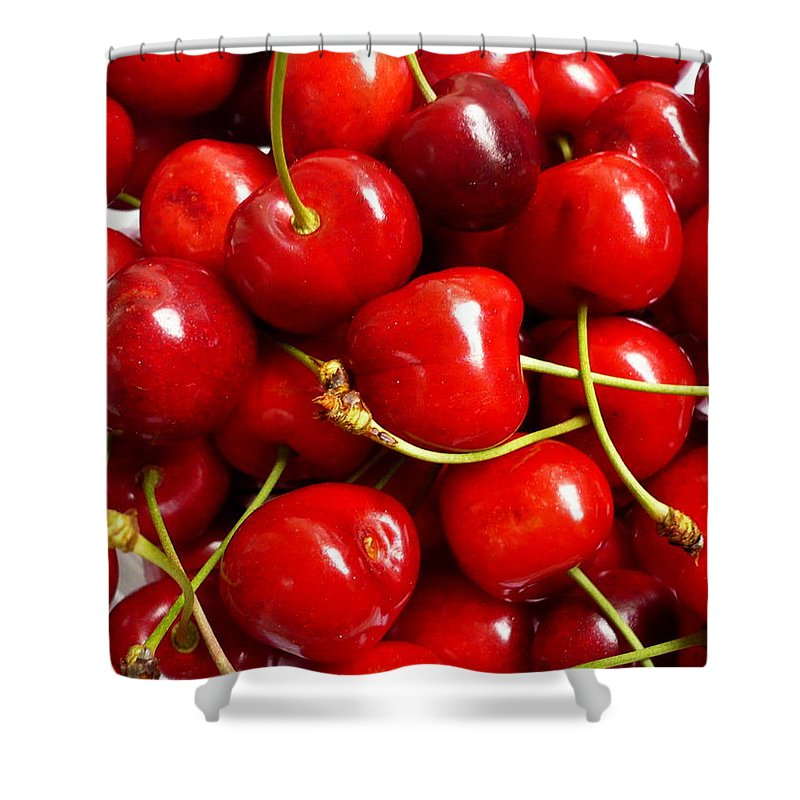 Cherry Shower Curtain featuring the photograph Fresh Red Cherries by Vienna Mornings