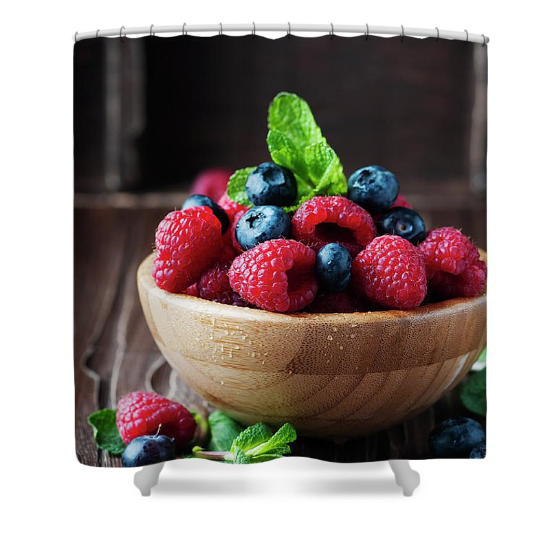 Vitamin Shower Curtain featuring the photograph Fresh Sweet Raspberry And Bluberry by Oxana Denezhkina