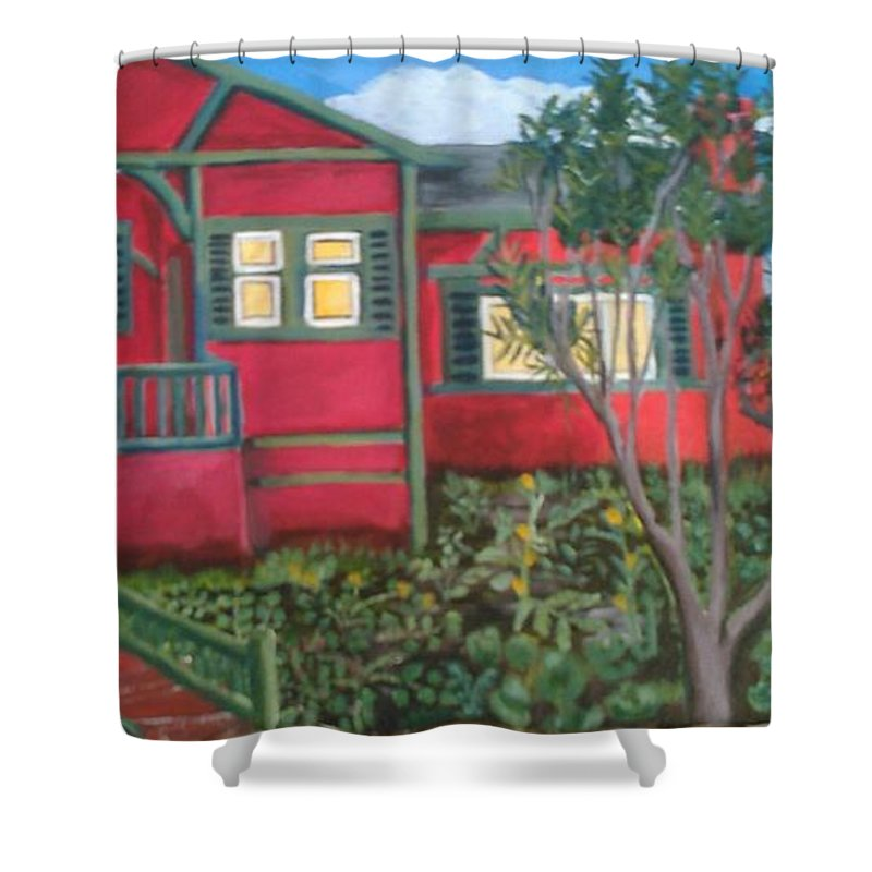 Painting Of House Shower Curtain featuring the painting Fresh yard by Andrew Johnson