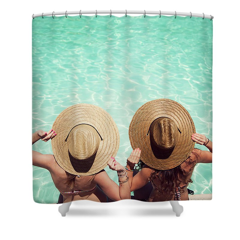 Fedora Shower Curtain featuring the photograph Friends By The Pool by Becon