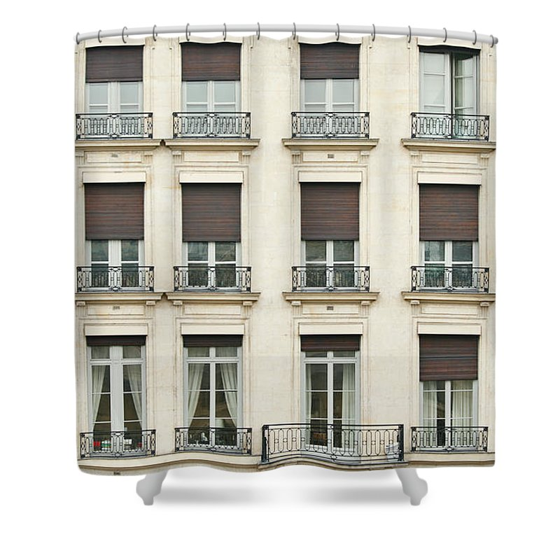 Apartment Shower Curtain featuring the photograph Front View Of Paris Architecture by S. Greg Panosian