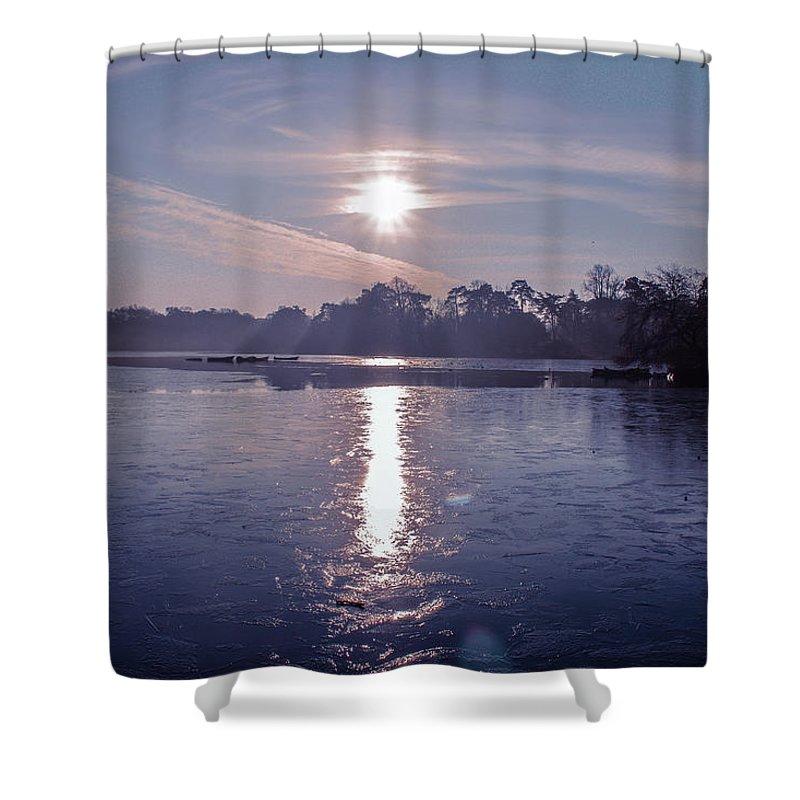 Lake Sunrise Photographs Shower Curtains