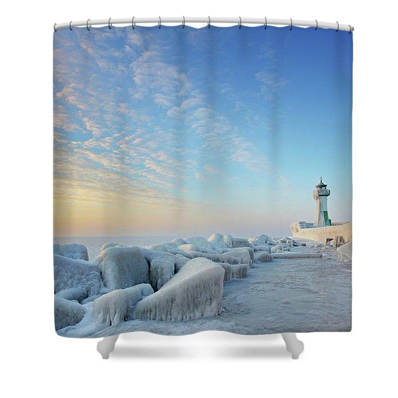 Dawn Shower Curtain featuring the photograph Frozen Lighthouse by Sandra Kreuzinger