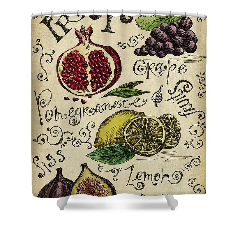 Doodle Shower Curtain featuring the digital art Fruits by Kalistratova