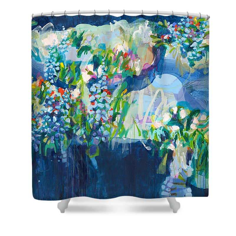 Abstract Shower Curtain featuring the painting Full Bloom by Claire Desjardins
