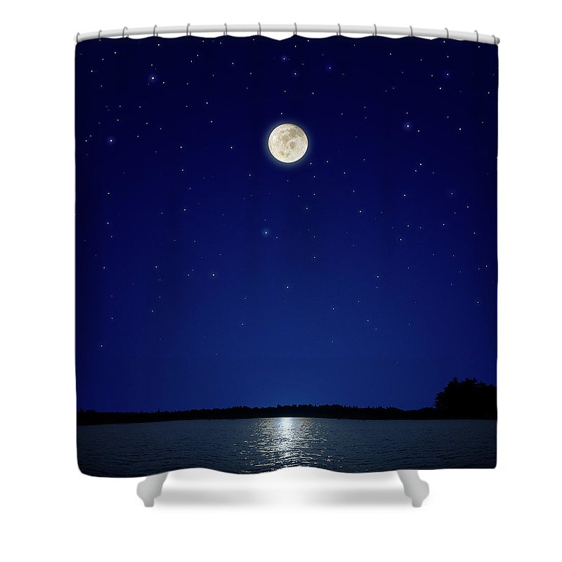 Constellation Shower Curtain featuring the photograph Full Moon Over New Hampshire by Soubrette