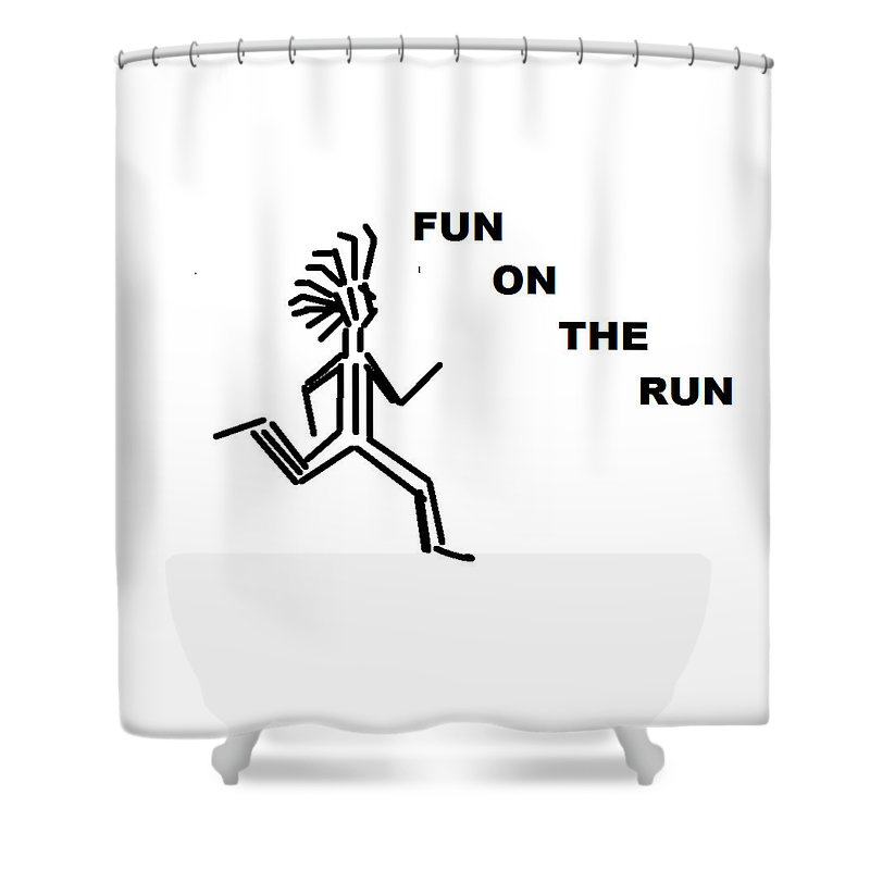 Drawingart Shower Curtain featuring the drawing Fun on the RuN by Andrew Johnson