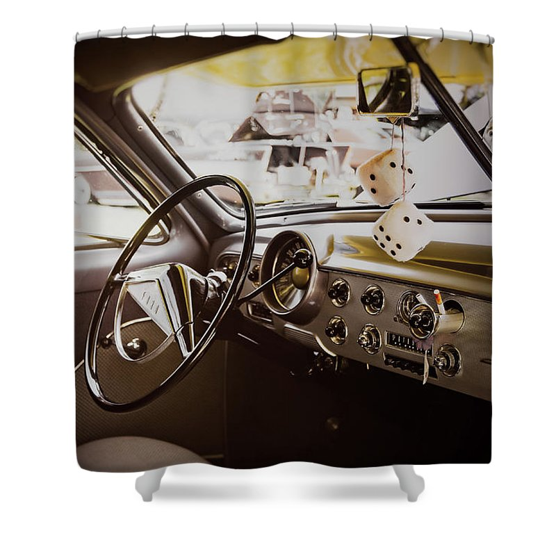 Vehicle Shower Curtain featuring the photograph Fuzzy Dice by Scott Norris