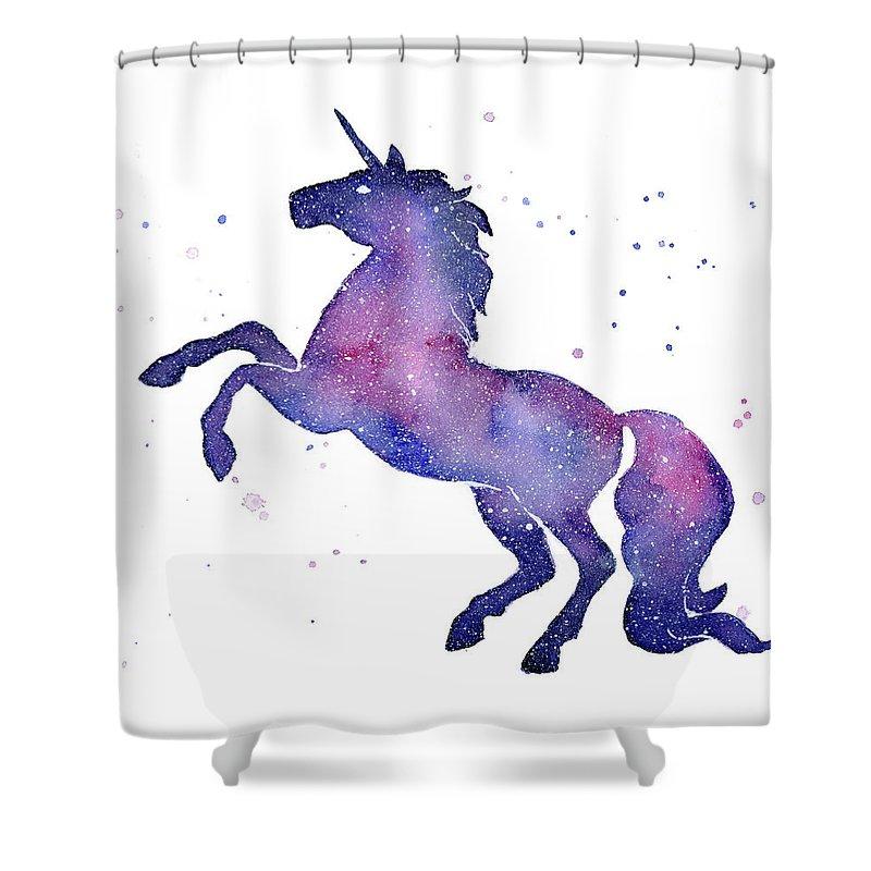 Galaxy Shower Curtain featuring the painting Galaxy Unicorn by Olga Shvartsur