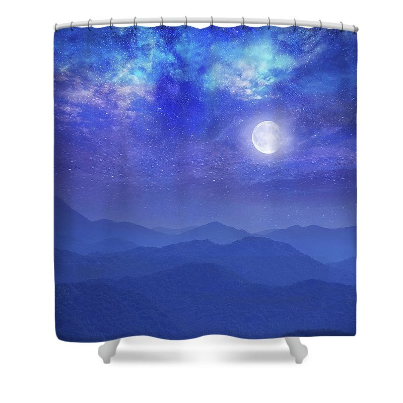Galaxy Shower Curtain featuring the photograph Galaxy With Moon In Mountains by Dtokar