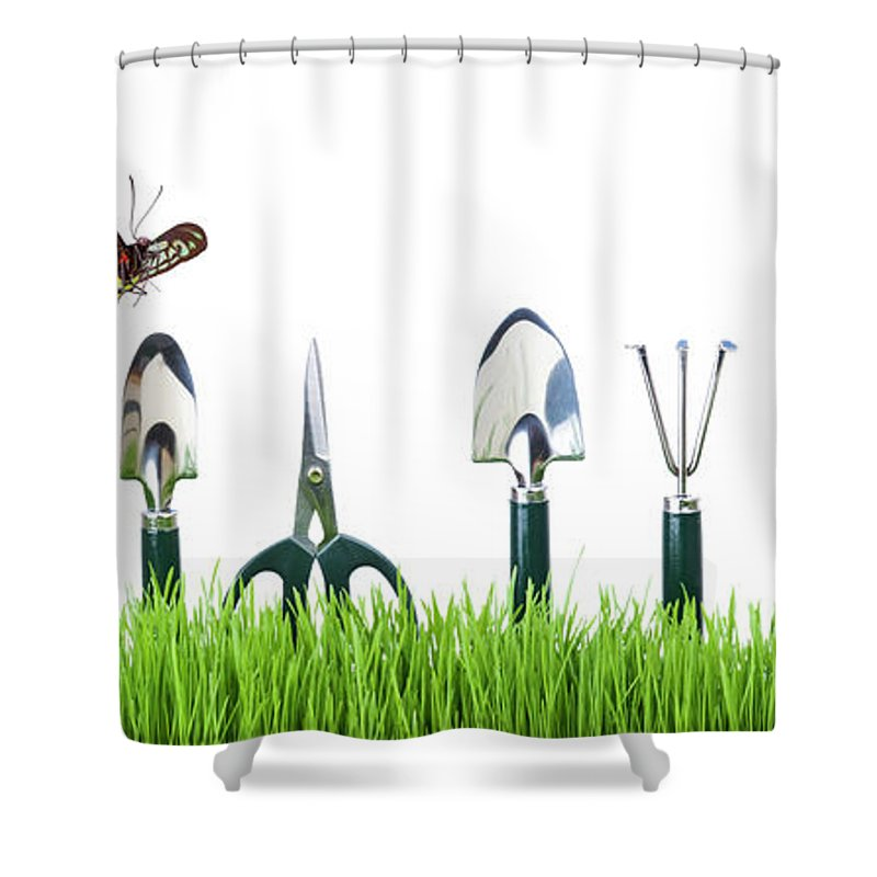 Grass Shower Curtain featuring the photograph Garden Tools by Liliboas