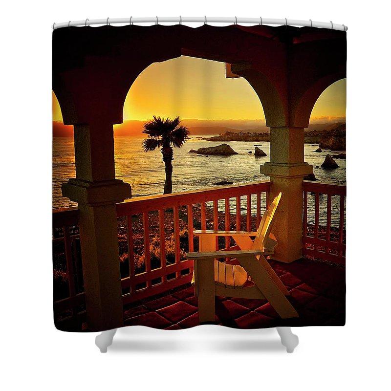 Nature Shower Curtain featuring the photograph Gazebo View of Central California Coast by Zayne Diamond Photographic