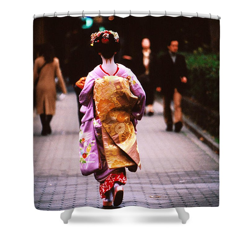Headwear Shower Curtain featuring the photograph Geisha In Kimono Walking Away, Pontocho by Lonely Planet