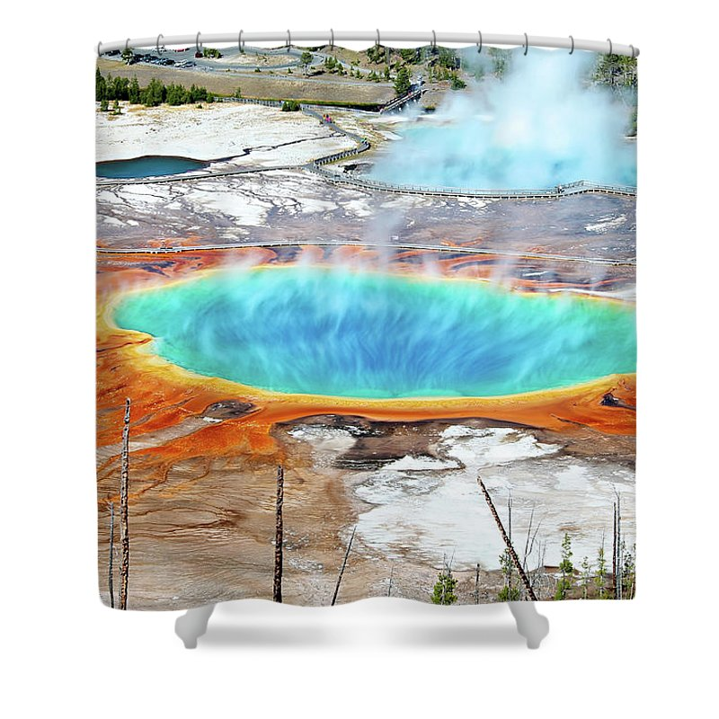 Moving Up Shower Curtain featuring the photograph Geothermal Pool With Steam Rising by Chung Hu