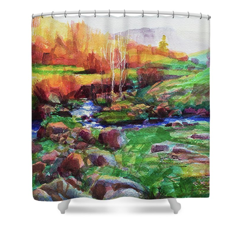 Landscape Shower Curtain featuring the painting Gilded Hillside by Steve Henderson