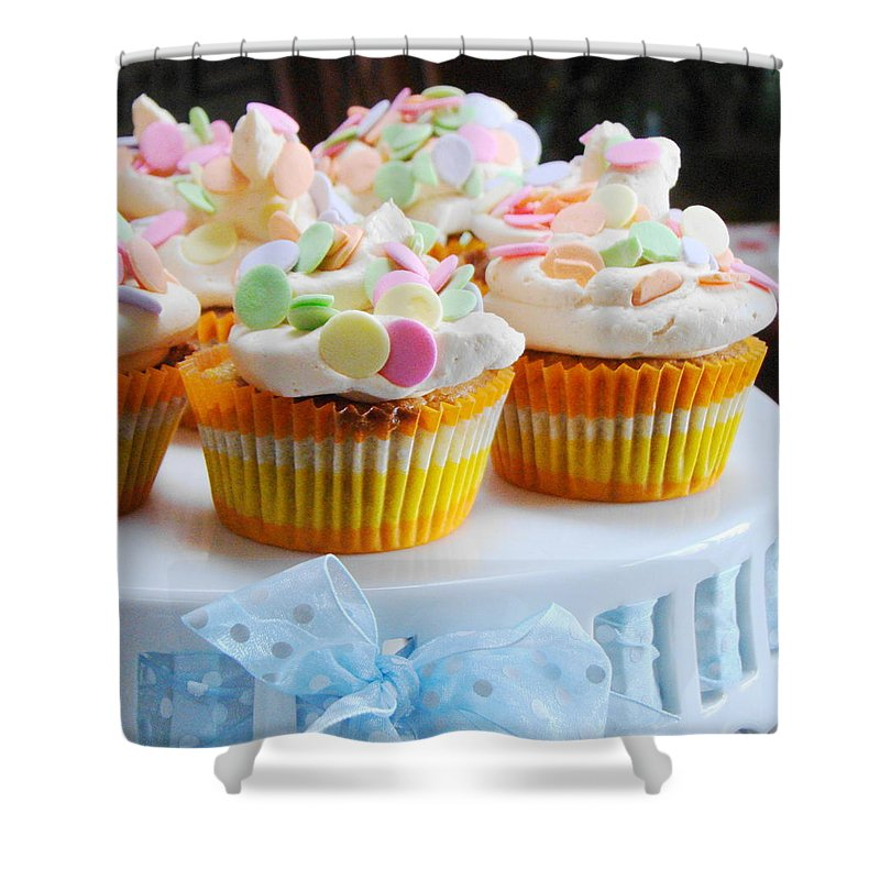 Five Objects Shower Curtain featuring the photograph Ginger Mango With Polka Dots by Janet Hudson