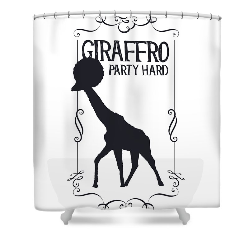 Humor Shower Curtain featuring the digital art Giraffro Party Hard by Passion Loft