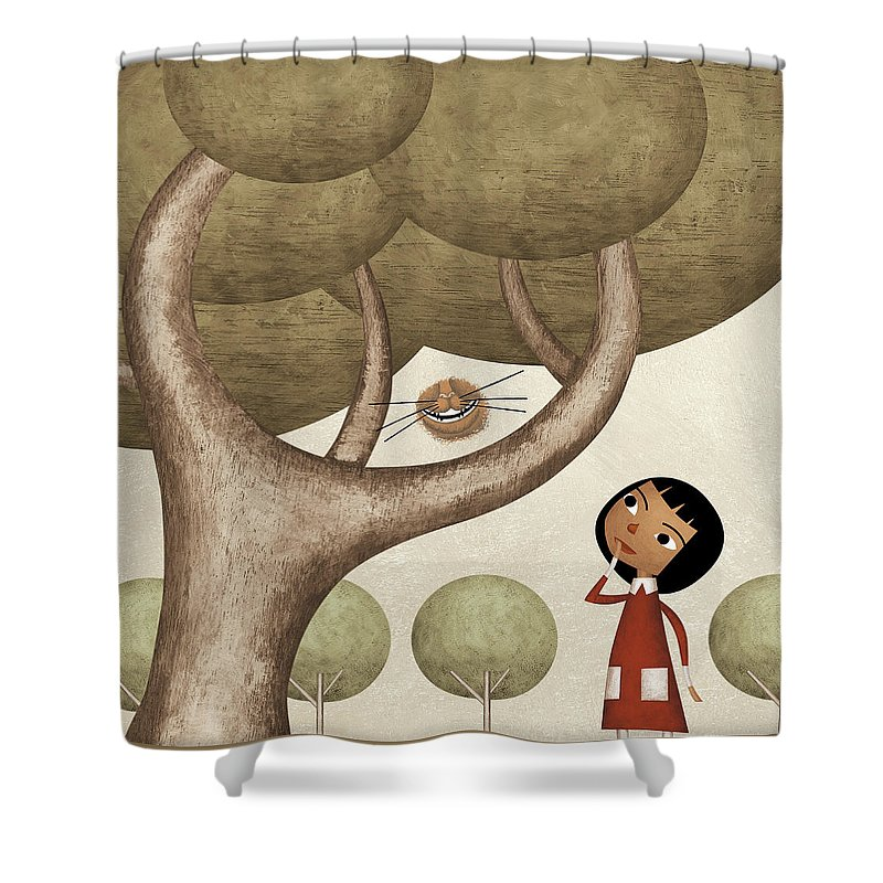 Three Quarter Length Shower Curtain featuring the photograph Girl And The Cats Smile by Carlos Cubeiro