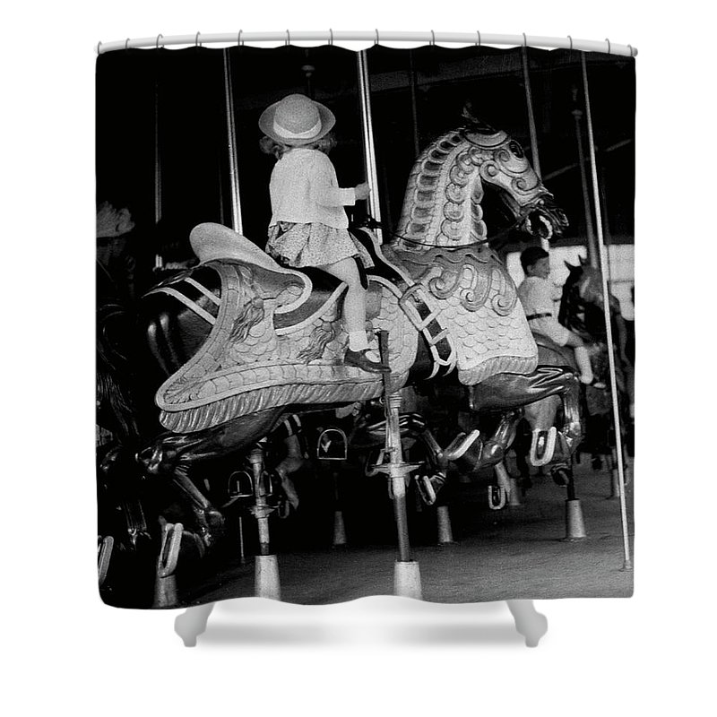 Child Shower Curtain featuring the photograph Girl Riding A Carousel by George Marks