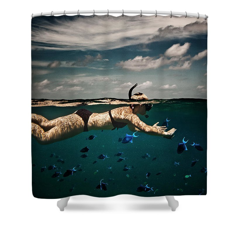 People Shower Curtain featuring the photograph Girl Snorkelling In Indian Ocean by Rjw