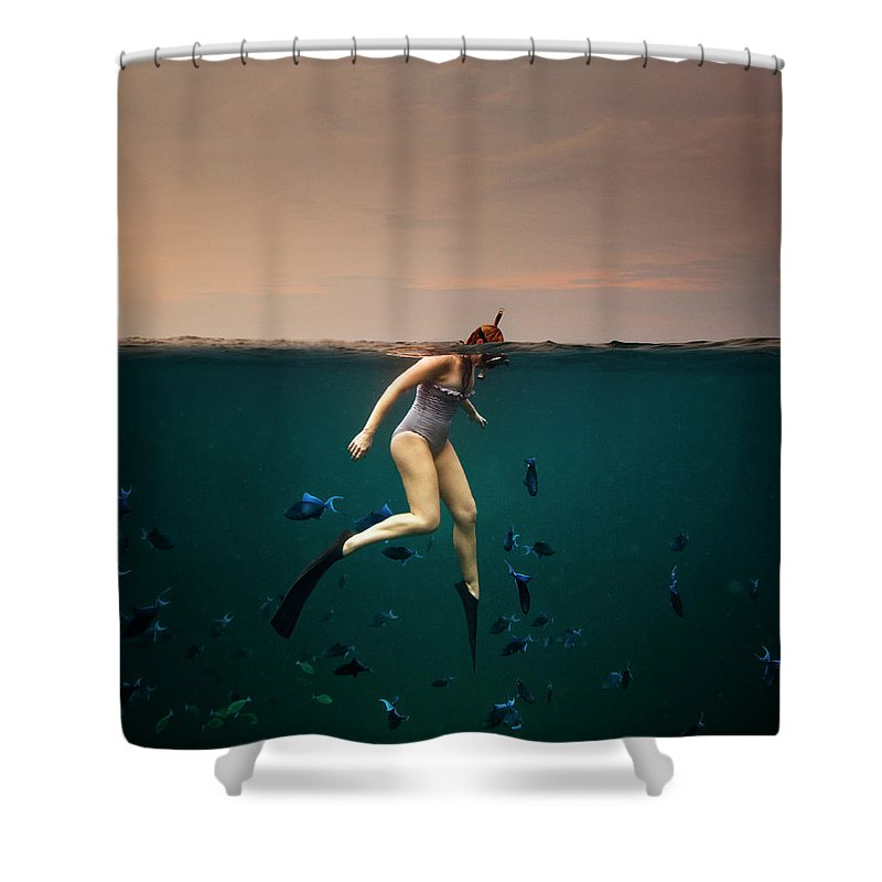 People Shower Curtain featuring the photograph Girl Snorkelling by Rjw
