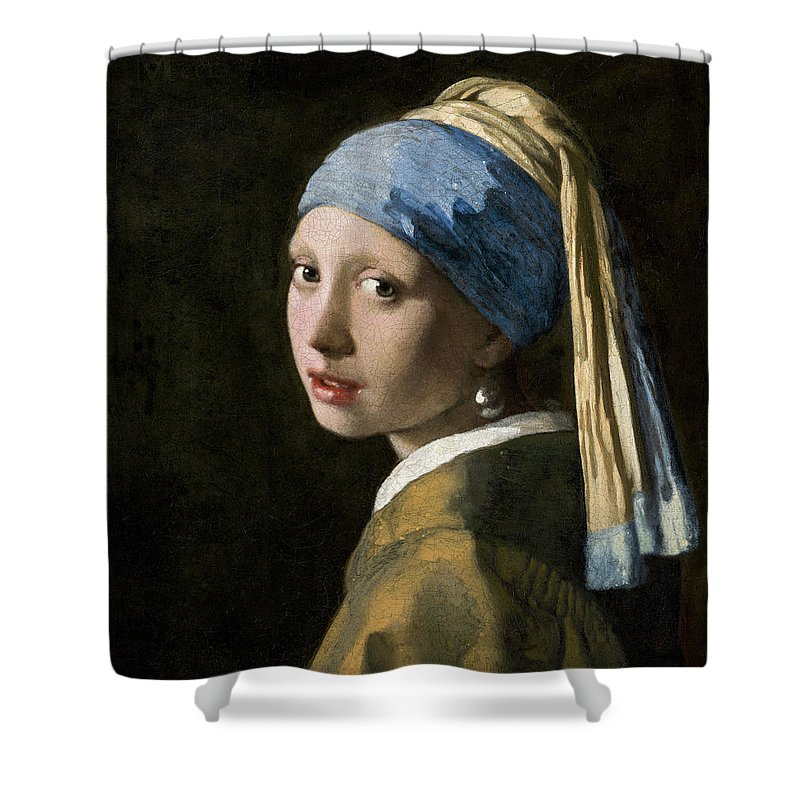 Johannes Vermeer Shower Curtain featuring the painting Girl With A Pearl Earring, Circa 1665 by Johannes Vermeer