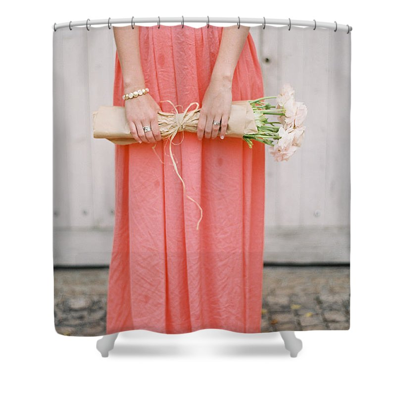 People Shower Curtain featuring the photograph Girl With Flowers by Photographed By Victoria Phipps ©