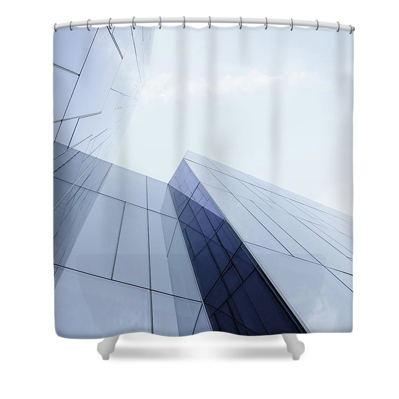 Architectural Feature Shower Curtain featuring the photograph Glass And Steel Office Building by Crossbrain66