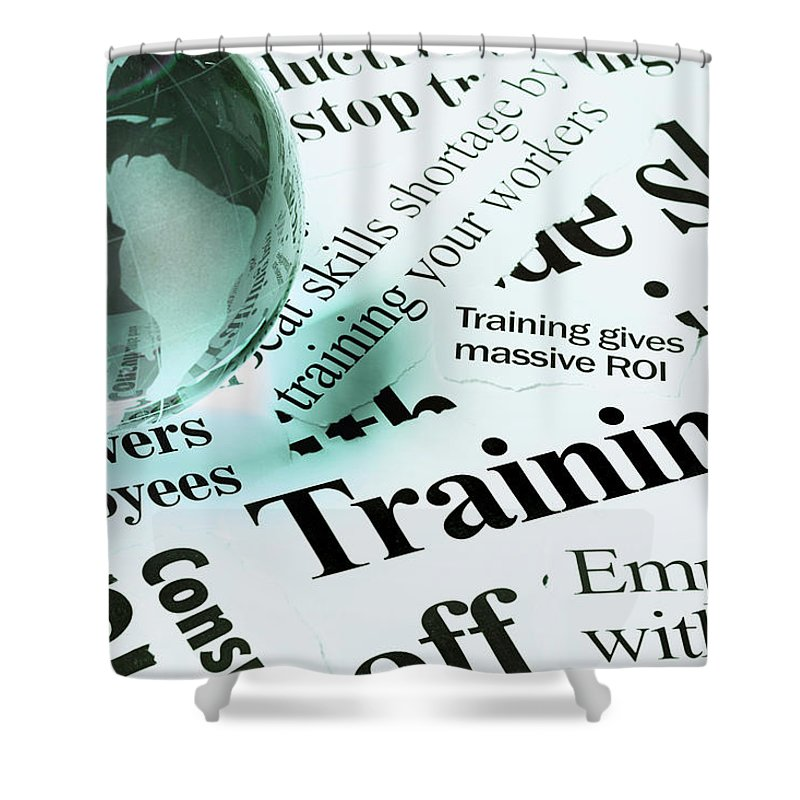 Employment And Labor Shower Curtain featuring the photograph Glass Globe Paperweight On Headlines by Rapideye