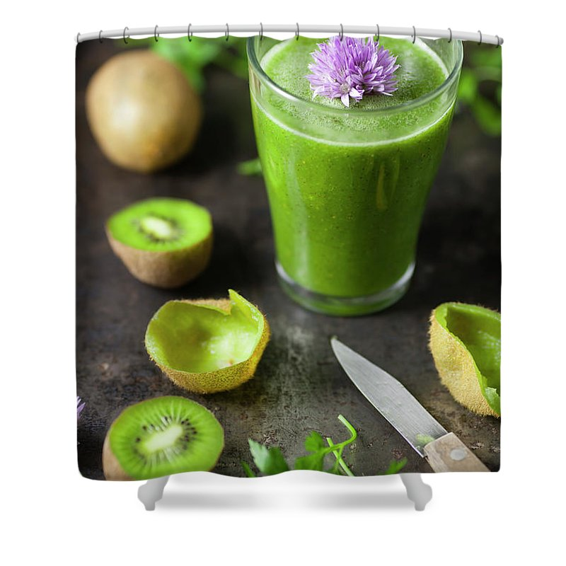 Cutting Board Shower Curtain featuring the photograph Glass Of Smoothie With Kiwi, Parsley by Westend61