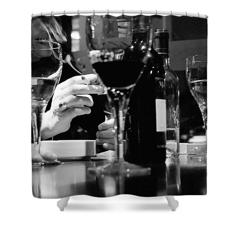 Smoking Shower Curtain featuring the photograph Glasses Of Wine by Matt Carr