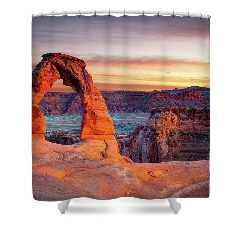 Scenics Shower Curtain featuring the photograph Glowing Arch by Mark Brodkin Photography