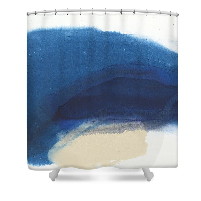Abstract Shower Curtain featuring the painting Go Easy by Claire Desjardins