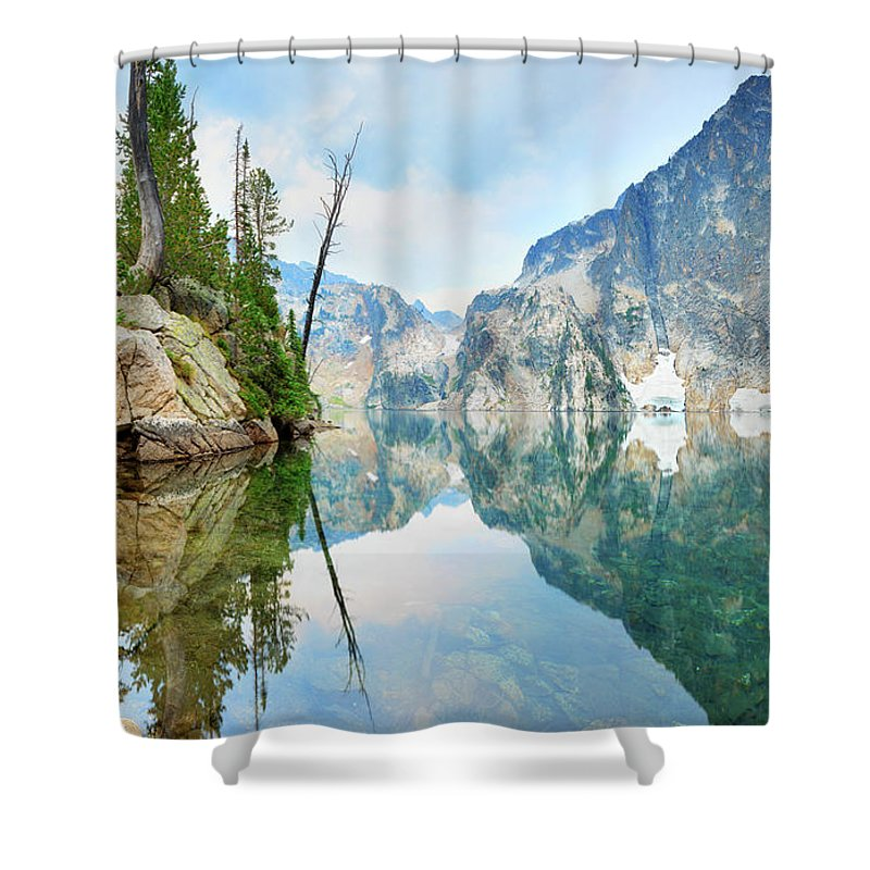 Tranquility Shower Curtain featuring the photograph Goat Lake On Cloudy Day In Sawtooth by Anna Gorin