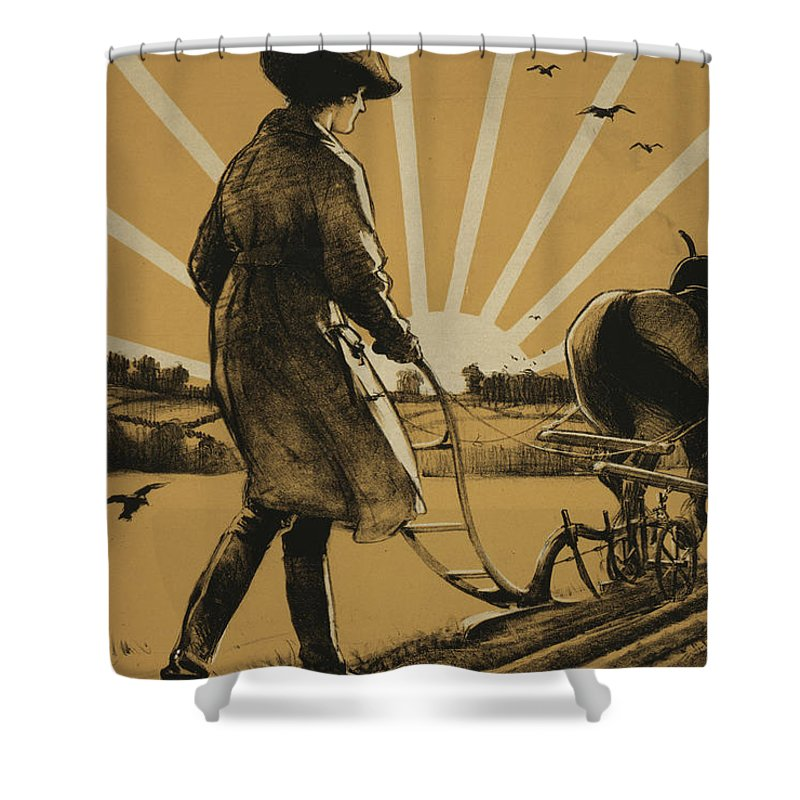 Plow Shower Curtain featuring the painting God Speed The Plough And The Woman Who Drives It by Henry George Gawthorn