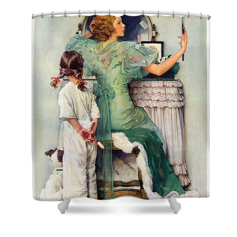 Dressing Tables Shower Curtain featuring the drawing Going Out by Norman Rockwell