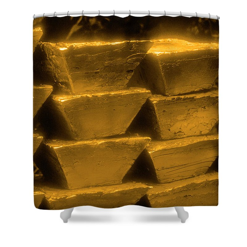 1980-1989 Shower Curtain featuring the photograph Gold Bullion Bars by Lyle Leduc